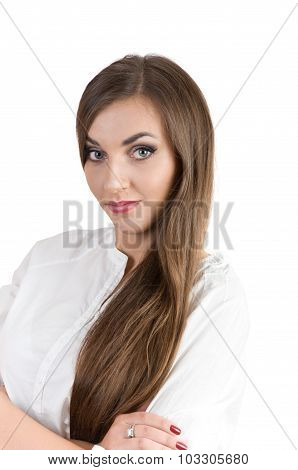 Elegant Beautiful Young Girl On A White Background