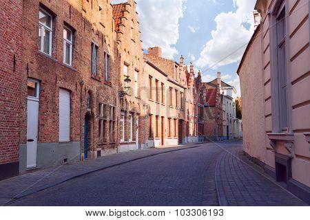 Cobblestone paved street during summer, Bruges