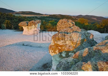 Sunrise at a rock phenomenon The Stone Mushrooms near Beli plast village,