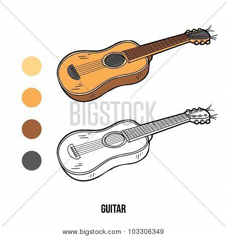 Coloring Book For Children: Music Instruments (guitar)