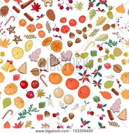 Seamless season pattern with fruits, cookies, berries,spice, nuts and candies isolated on white.  For season design, announcements, postcards, posters.