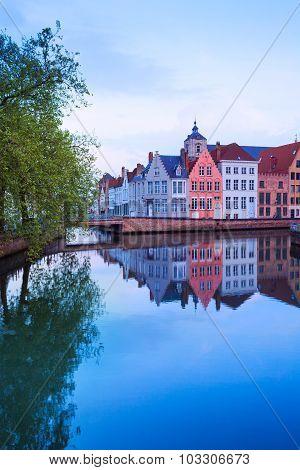 Dijver Spiegelrei street view from river in Bruges