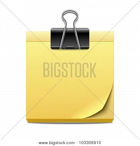 Yellow Sticky Note Paper With Binder Clip Isolated On White Background
