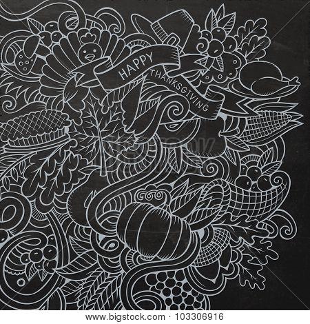 Cartoon vector hand-drawn Doodle Thanksgiving