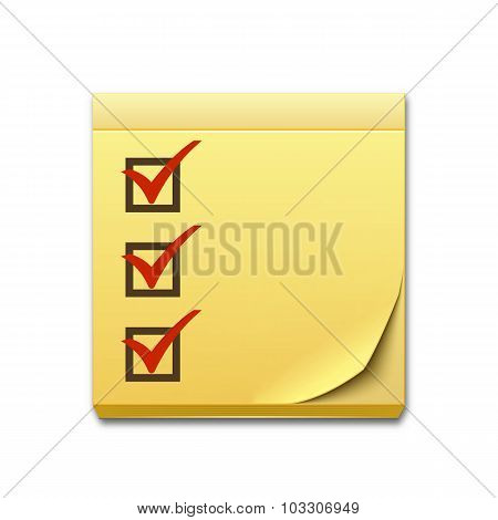 Yellow Sticky Note Paper With Checklist Isolated On White Background