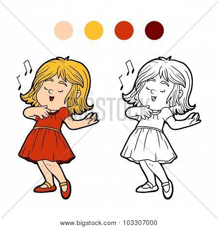 Coloring Book: Little Girl In A Red Dress Is Singing A Song