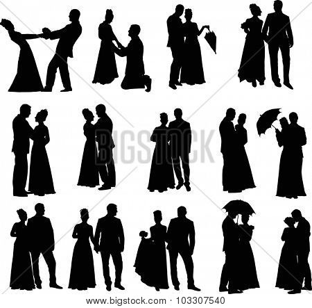 illustration with wedding couples isolated on white background