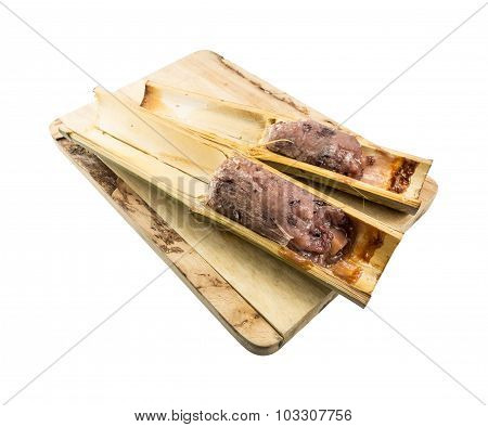 Glutinous Rice Roasted In Bamboo Joints (khoalam) Isolated On White