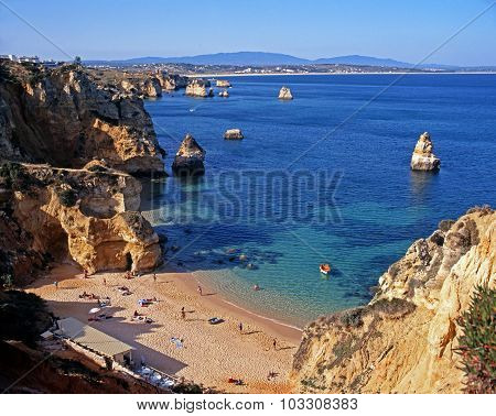 Praia da Rocha beach and coastline.