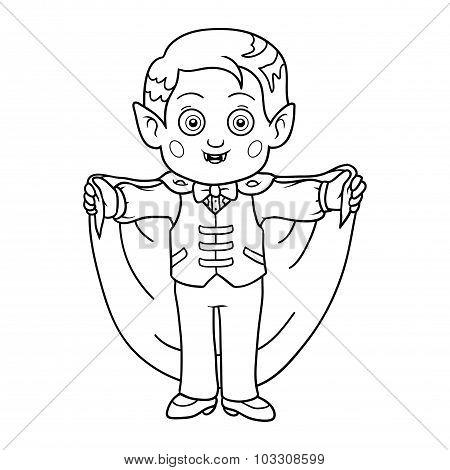 Coloring Book For Children: Halloween Characters (vampire)