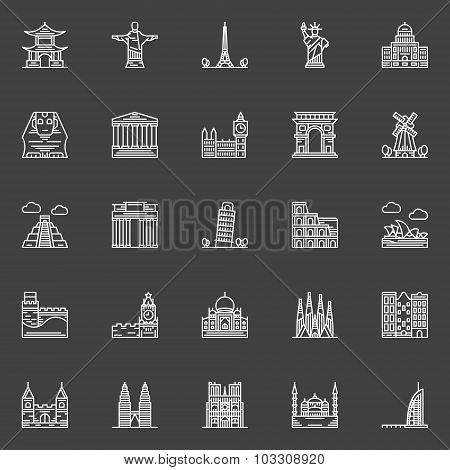 Monuments icons set