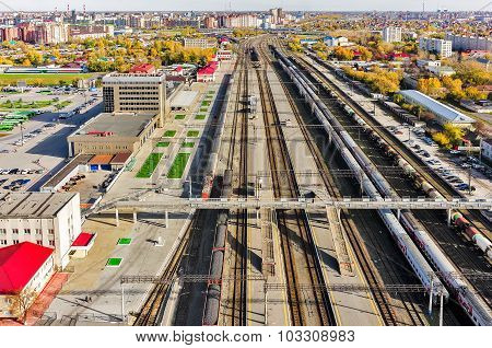 Aerial view onto railway station. Tyumen. Russia