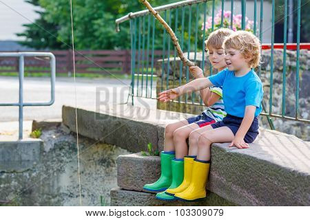 Two Adorable Little Friends  Fishing With Selfmade Rod