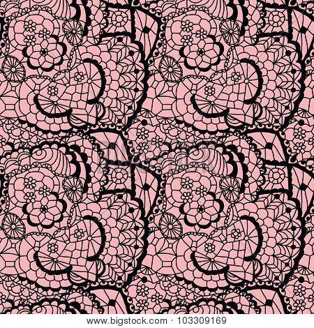 Lace black seamless mesh pattern.