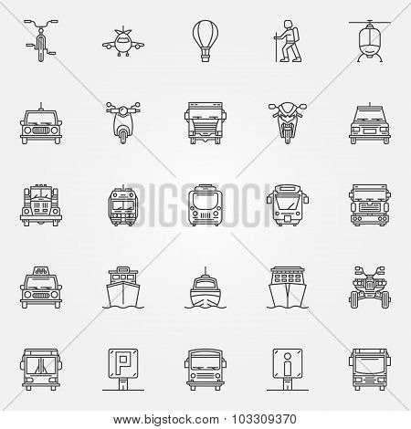 Transport linear icons