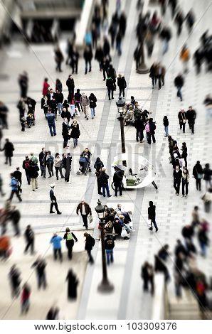 Tilt-shift Crowd Of People On Street