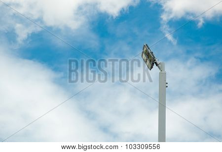Street Lamp In Cloudy And Blue Sky Background