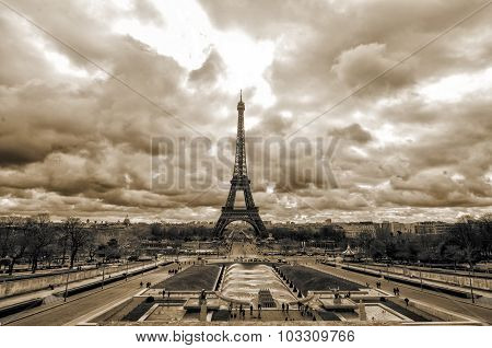 Sepia  Eiffel Tower From Trocadero