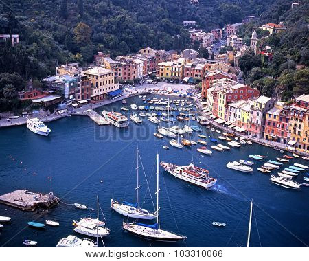 Elevated view of Portofino.