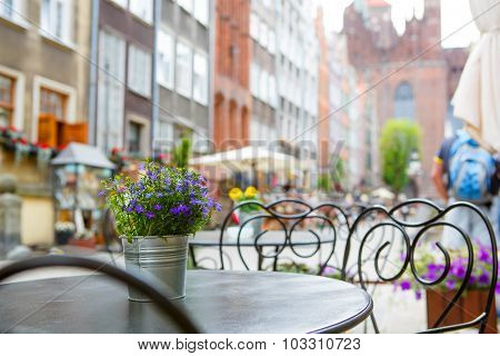 Cozy Outdoor Cafe In Gdansk, Poland.