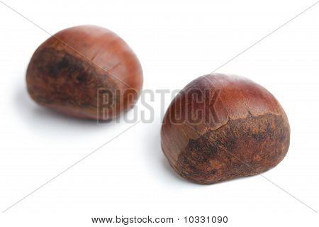 Chesnuts On White Background