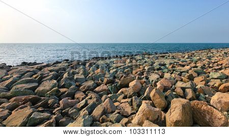 colored large stones on the beach