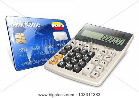 Credit Card And Calculator Isolated On White Background