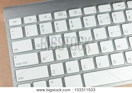 A Part Of Desktop Computer Keyboard Is A White Color