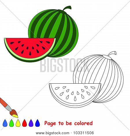 Vector watermelon to be colored.