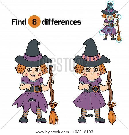 Find Differences For Children: Halloween Characters (witch)