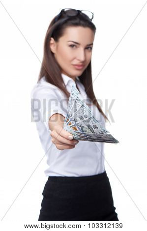 Business woman giving you us dollar