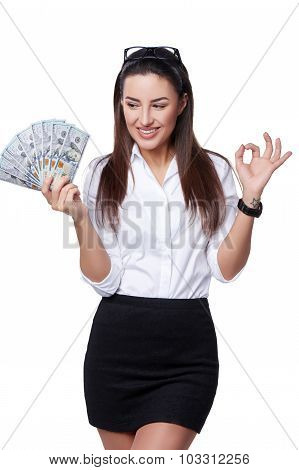 Happy business woman with us dollar