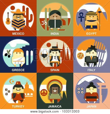 Representatives of Different Nationalities Flat Style Vector Illustration Set