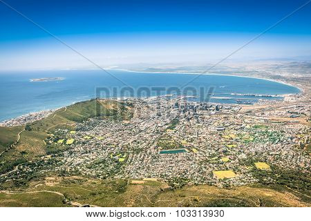Aerial View Of Cape Town Skyline From Lookout Viewpoint - South Africa City Tour - Trip Excursion