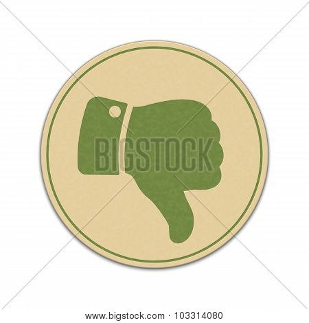 Paper Thumb Down Sticker Isolated On White Background
