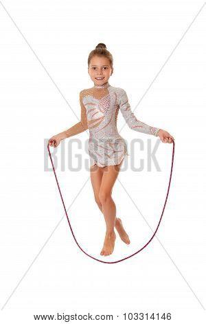 Girl jumping skipping rope
