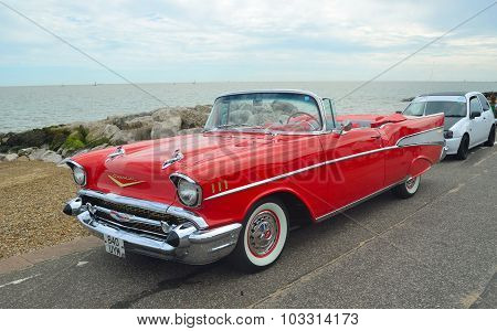 Classic Red Chevrolet Belair convertible