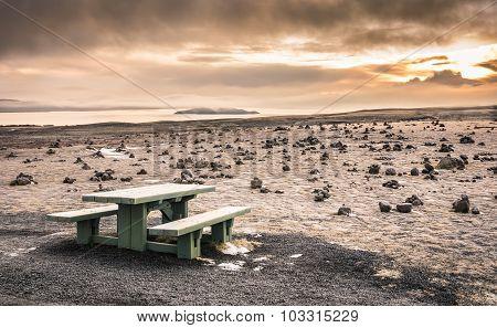 Desert Landscape In Iceland At Sunset