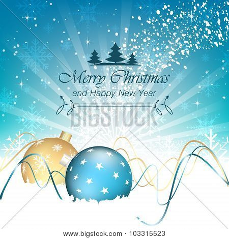 Christmas background, baubles, swirly lines and snowflakes