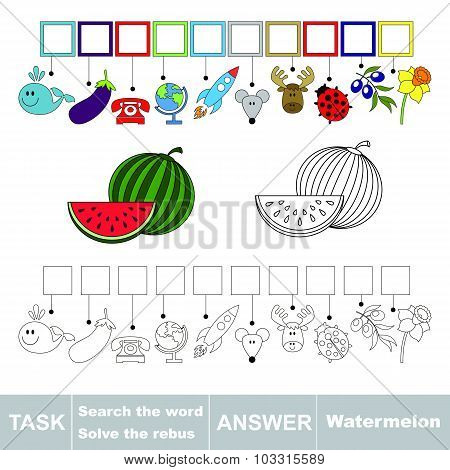 Vector game. Find hidden word watermelon. Search the word.