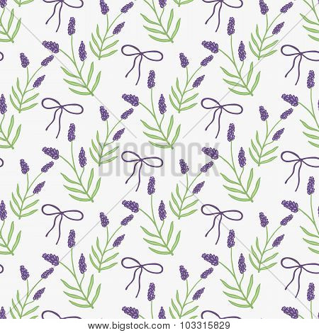 Lavender. Seamless pattern with flowers and bows on the white background. Hand-drawn original backgr