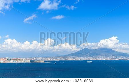 Gulf Of Naples. Landscape With Mount Vesuvius