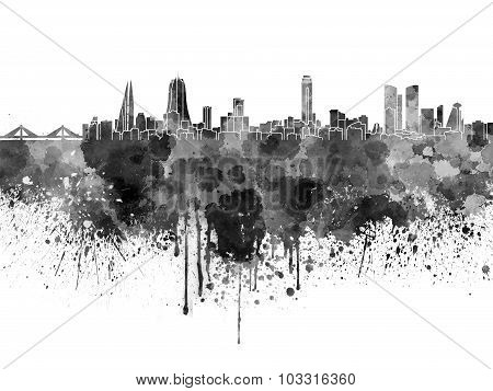 Manama Skyline In Black Watercolor