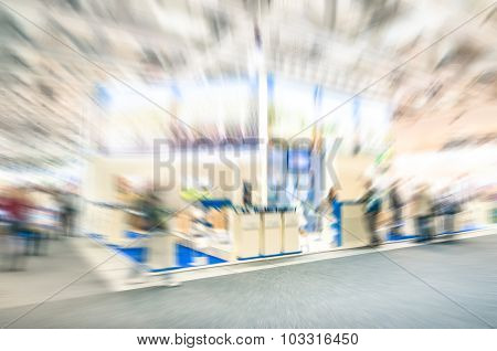 Generic Trade Show Stand With Blurred Zoom Defocusing - Concept Of Business Tradeshow