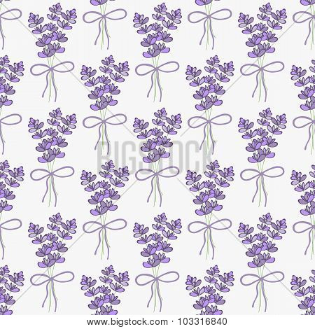 Lavender. Seamless pattern with bouquets of lavender on the white background. Hand-drawn original ba