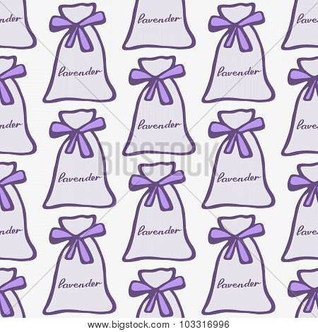 Lavender. Seamless pattern with pouches or sachetes on the white background. Hand-drawn original bac
