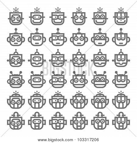 Logo symbol robot silver head
