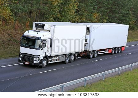 White Renault T Reefer Truck On Motorway