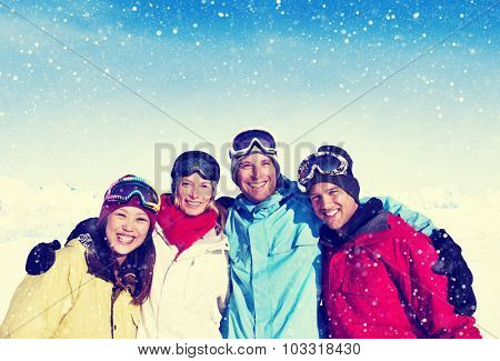 Friendship Winter Happiness Togetherness Posing Concept