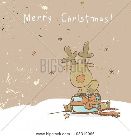Christmas reindeer with gifts, merry Christmas greeting card. Doodle style vector illustration.